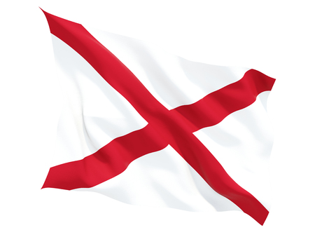 Flag of alabama, US state fluttering flag isolated on white. 3D illustration Stock Photo