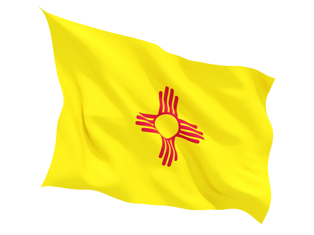 Flag of new mexico, US state fluttering flag isolated on white. 3D illustration Stock Photo