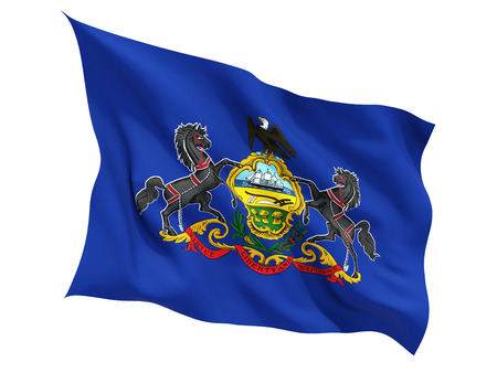 Flag of pennsylvania, US state fluttering flag isolated on white. 3D illustration