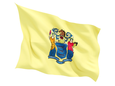 Flag of new jersey, US state fluttering flag isolated on white. 3D illustration Stock fotó
