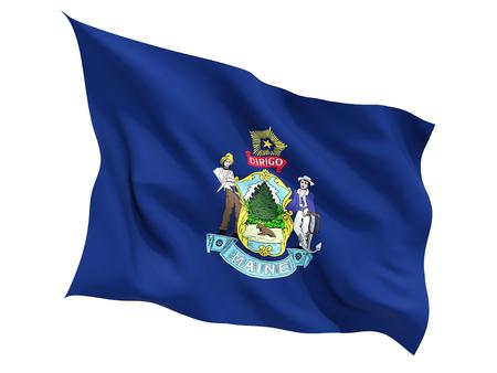 Flag of maine, US state fluttering flag isolated on white. 3D illustration