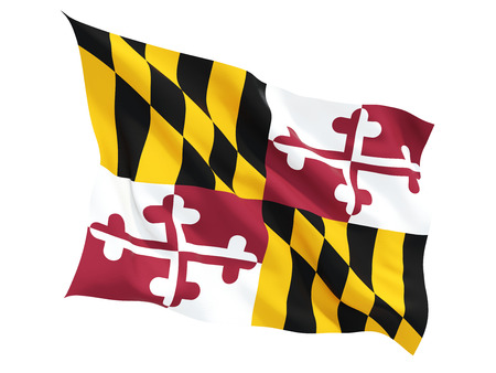 Flag of maryland, US state fluttering flag isolated on white. 3D illustration