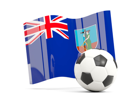 Football with waving flag of montserrat isolated on white. 3D illustration