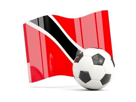 Football with waving flag of trinidad and tobago isolated on white. 3D illustration