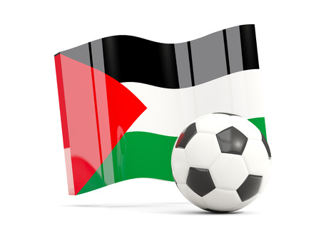 Football with waving flag of palestinian territory isolated on white. 3D illustration