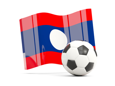 Football with waving flag of laos isolated on white. 3D illustration Stock Photo