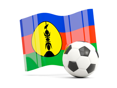 Football with waving flag of new caledonia isolated on white. 3D illustration