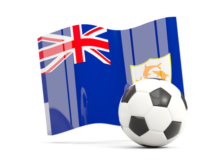 Football with waving flag of anguilla isolated on white. 3D illustration
