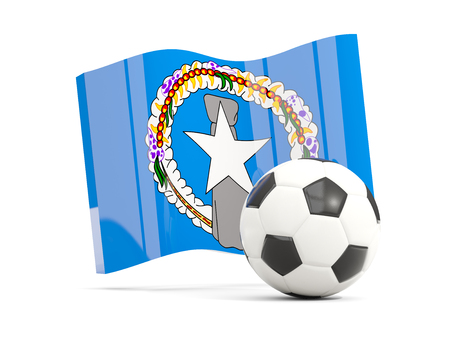 Football with waving flag of northern mariana islands isolated on white. 3D illustration