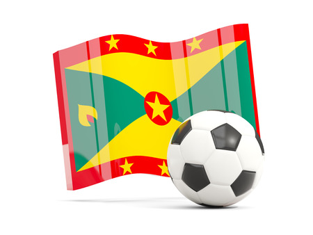 Football with waving flag of grenada isolated on white. 3D illustration Stock Photo