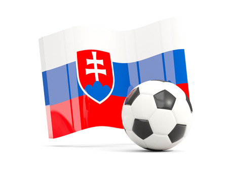 Football with waving flag of slovakia isolated on white. 3D illustration