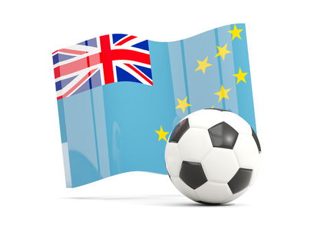 Football with waving flag of tuvalu isolated on white. 3D illustration Stock Photo