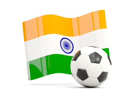 Football with waving flag of india isolated on white. 3D illustration Stock Photo