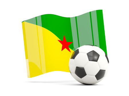 guiana: Football with waving flag of french guiana isolated on white. 3D illustration Stock Photo