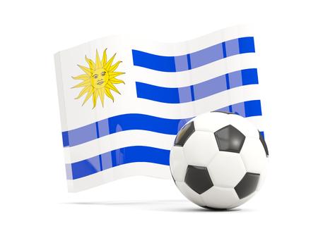 bandera de uruguay: Fútbol con ondeando la bandera de uruguay aislado en blanco. Ilustración 3D