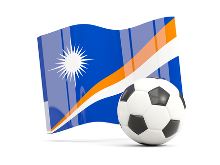 Football with waving flag of marshall islands isolated on white. 3D illustration