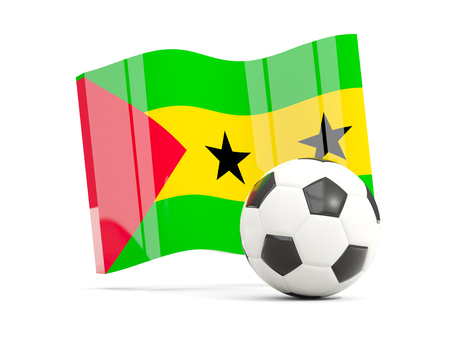 Football with waving flag of sao tome and principe isolated on white. 3D illustration