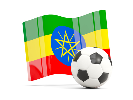 national flag ethiopia: Football with waving flag of ethiopia isolated on white. 3D illustration