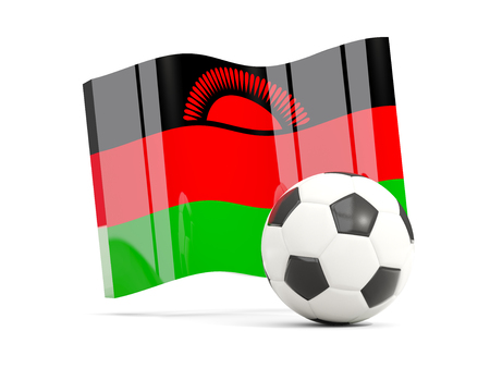 Football with waving flag of malawi isolated on white. 3D illustration