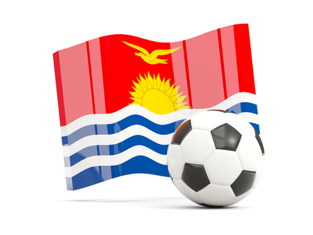 Football with waving flag of kiribati isolated on white. 3D illustration