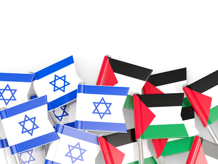Flags of Israel and Palestine isolated on white. 3D illustration