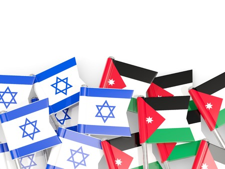 Flags of Israel and Jordan isolated on white. 3D illustration Stock Photo