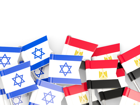 israel people: Flags of Israel and Egypt isolated on white. 3D illustration