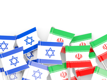 israel people: Flags of Israel and Iran isolated on white. 3D illustration