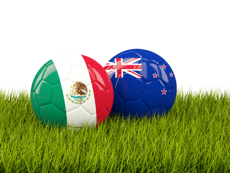 Two footballs with flags of Mexico and New Zealand on green grass. 3D illustration