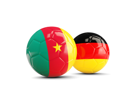world championships: Two footballs with flags of Cameroon and Germany isolated on white. 3D illustration Stock Photo