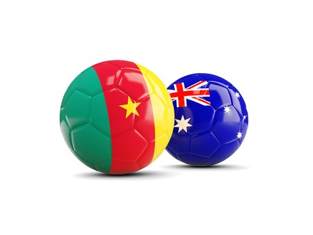 cameroon: Two footballs with flags of Cameroon and Australia isolated on white. 3D illustration