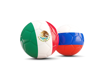 Two footballs with flags of Mexico and Russia isolated on white. 3D illustration
