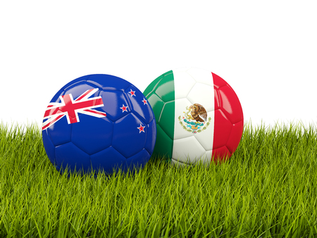 Two footballs with flags of New Zealand and Mexico on green grass. 3D illustration Stock Photo