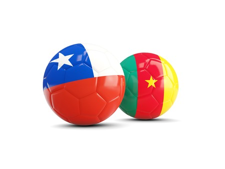 cameroon: Two footballs with flags of Chile and Cameroon isolated on white. 3D illustration