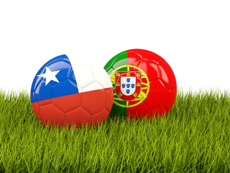 Chile and Portugal soccer balls on grass. 3D illustration