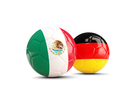 Mexico and Germany soccer balls isolated on white background. 3D illustration
