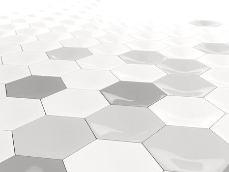 tile pattern: White background with industrial hexagon pattern. 3D illustration