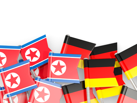 Flag pins of North Korea (DPRK) and Germany isolated on white. 3D illustration Stock Photo