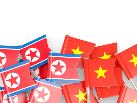 Flag pins of North Korea (DPRK) and Vietnam isolated on white. 3D illustration