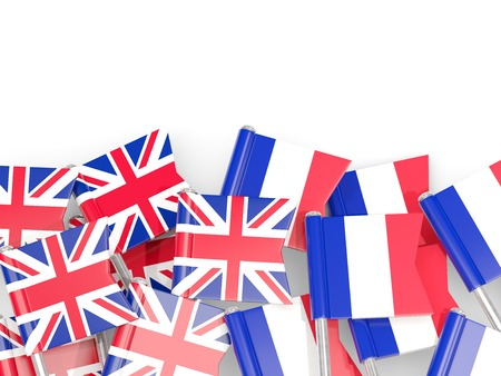 Flag pins of United Kingdom and France isolated on white. 3D illustration Stock Photo
