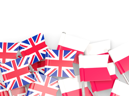 Flag pins of United Kingdom and Poland isolated on white. 3D illustration