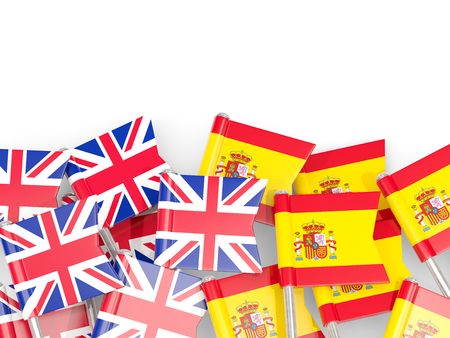 Flag pins of United Kingdom and Spain isolated on white. 3D illustration