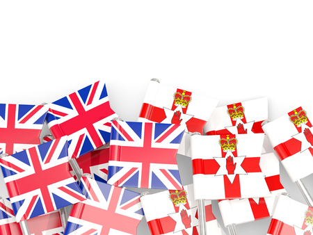 Flag pins of United Kingdom and Northern Ireland isolated on white. 3D illustration