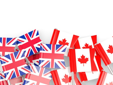 Flag pins of United Kingdom and Canada isolated on white. 3D illustration