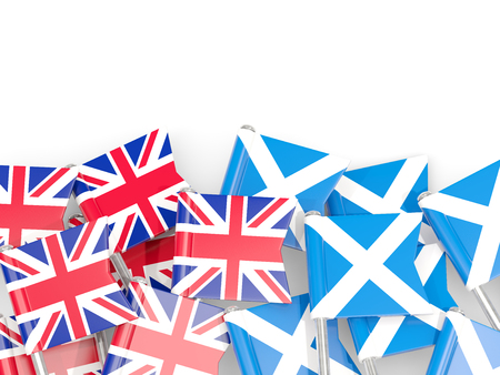 Flag pins of United Kingdom and Scotland isolated on white. 3D illustration