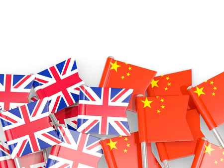 Flag pins of United Kingdom and China isolated on white. 3D illustration
