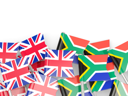 Flag pins of United Kingdom and South Africa isolated on white. 3D illustration