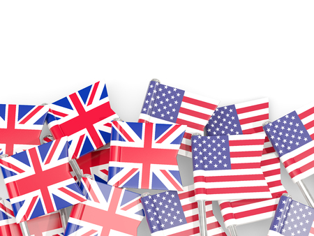 Flag pins of United Kingdom and USA isolated on white. 3D illustration