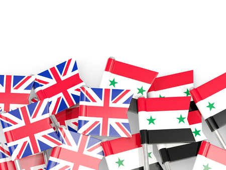 Flag pins of United Kingdom and Syria isolated on white. 3D illustration
