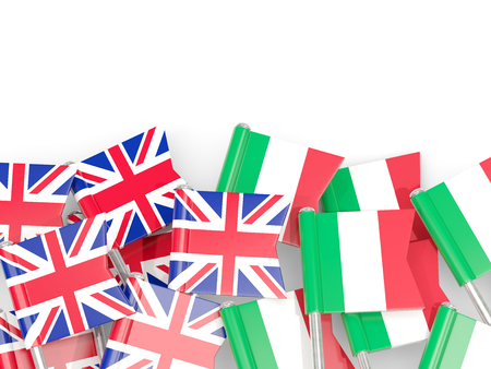 Flag pins of United Kingdom and Italy isolated on white. 3D illustration Stock Photo
